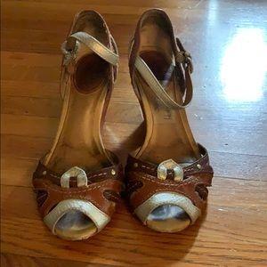 Metallic and natural kitten heel sandal